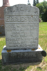 Monument of Joel and Sophia Eggleston and three of their children, Old Kinne Cemetery