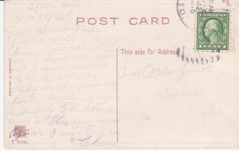 Card from sister Clara to Vedia Jones in 1916