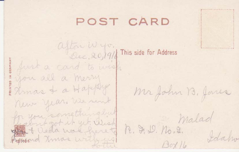 Card from Lottie to Mr. John Jones, Vedia's husband in 1916