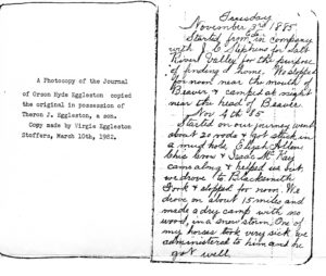 Orson Hyde Eggleston journal page 1 with note