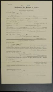 Marriage License of David Johnson and Lizzie Langlois