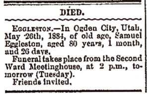 Samuel Eggleston death notice